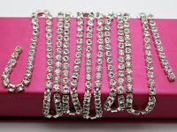 SS16 1 Meter Silver Clear Crystal Rhinestone Close Chain Trim For Bridal Wedding