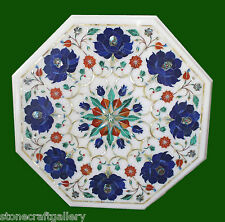 """12"""" Marble Coffee Table Top Lapis Inlay Handmade Work For Home Decor and Gift"""