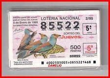 AÑO 1995 COMPLETO LOTERIA NACIONAL DEL JUEVES, TEMA PAJAROS