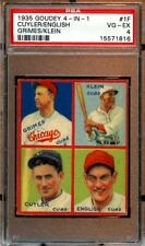1935 Goudey 4 in 1 Baseball Card #1F Chicago Cubs Klein Grimes Cuyler PSA 4 VGEX