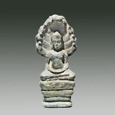 Khmer Antique Angkor Wat Period Bronze Naga Buddha Statue 12th Century