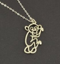 925 Sterling Silver Monkey Pendent and Chain.