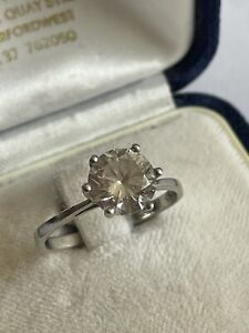 Vintage 925 Silver & Cubic Zirconia Solitaire Dress Ring Size R 2.5 Grams