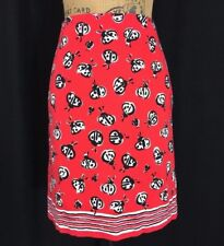 Talbots 12 P Large White Black Red Lady Bug Dot Cotton Texture Pencil Skirt Cute