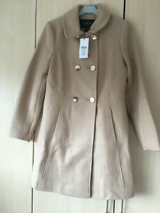 BNWT Lipsy Camel Wool Blend Military Skater Coat - Size 8 - RRP £79