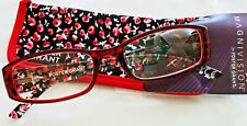 New! Foster Grant Magnivision Thelma Red 1.50 Reading Glasses W/Soft Case.