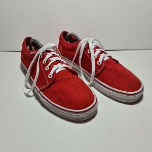 Iconic Vans Men's Red Canvas Low Top Skate Trainers UK 10.5 US 11