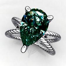 Pear Moissanite Diamond.925 Silver Ring 2.02ct Vvs1=Gift Natural Blue Green