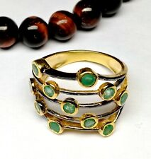 Antique Silver Gold Plated Ring 92.5 Starling Silver Ring Emerald Gemstone Fine