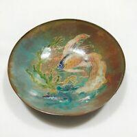 "Fish Copper Enamel Trinket Dish Bowl De Kern Holland 4 1/2"" Vintage Handpainted"