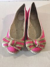 Vince Camuto Women Size 8 Flat Leather Lining PINK Outer Canvas Fabric shoes