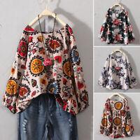 ZANZEA Women's Long Sleeve Tops Casual Cotton Ethnic Shirt Floral Print Blouse