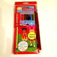 Stabilo 12 Buntstifte + 2 Bleistifte HB (letztere Gratis) - Neu & OVP