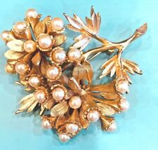 VITAGE LARGE HAR SIGNED GOLDPLATED PEARL LEAF BROOCH ESTATE JEWELRY