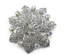 Lavish Bridal Wedding Brooch Pin Clear Fine Austrian Rhinestone Crystal