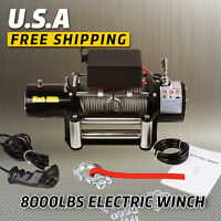 8000lbs 12V Electric Recovery Winch Truck SUV Cabled Remote