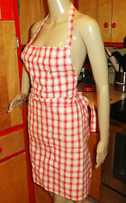 Vintage Red & White Gingham Kitchen Apron pinup rockabilly retro 1950's country