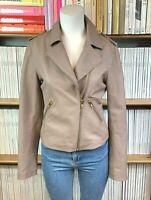 Womens REISS XS UK 8 Leather Jacket Biker Taupe Lambskin Gold Zipper US 4 Kara