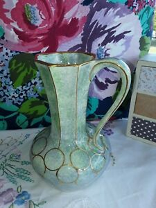 BEAUTIFUL vintage Vase *Oldcourt*🌸Green & Gold..for Modern or Old Style Home🌸