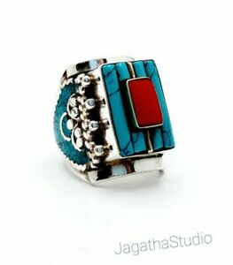 NEW Tibetan Turquoise and deep Coral Boho Statement Ring Ethnic jewelry bohemian