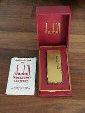 Briquet Dunhill Rollagas plaqué or avec boîte et notice