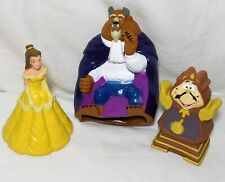 Beauty And The Beast Pizza Hut Hand Puppets LOT of 3 Cogsworth 1992 Disney
