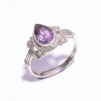 Natural Amethyst  Ethnic Style 925 Sterling Silver Ring Size 7.25 US