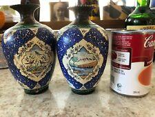 Pair Antique Persian Kashkul Vase ~ Handpainted Enamel Over Copper Mideast Vase