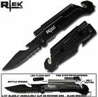 """Rtek 9"""" Tactical Spring Assisted Survival 7 in 1 Rescue Pocket Knife - Black"""