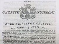 Rare Gazette d'Utrecht 1758 Smyrne Turquie Rieux Volvestre Köln Cologne Dresden