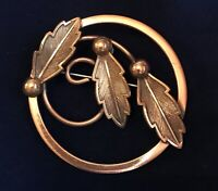 Fabulous Vintage Copper By Bell Leaves, Balls & Swirl Circle Brooch