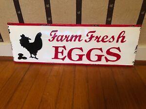 Farm Fresh Eggs Metal Sign, Country Decor, Home Decor, Chickens, Coop Decor