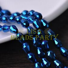 New 30pcs 12X8mm Faceted Teardrop Crystal Glass Spacer Loose Beads Blue Plated