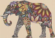Cross Stitch Chart POP ART ELEPHANT #7-365/2 (Large Print)