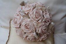 VINTAGE DUSKY BLUSH PINK  ROSES POSY BOUQUET WEDDING FLOWERS BRIDES POSY BOUQUET