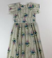 VTG Handmade White Floral Lightweight Summer S/S Dress See Measurements