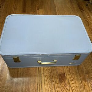 "Vintage Lady Baltimore Large Blue Suitcase Luggage NO KEY 26""x16""x9"" FREE SHIP"