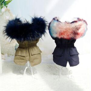 Pet Dog Cat Fur Trimmed Parka Clothing Coat Jacket Hood Warm Winter Dog Clothes
