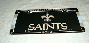 """NEW ORLEANS SAINTS PLASTIC LICENSE PLATE AND PLASTIC FRAME DEAL 6"""" X 12"""" NEW NFL"""