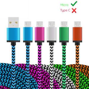 Micro USB Kabel Ladekabel Schnell Datenkabel Samsung Handy Tablet Nylon Mikro