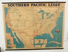 1962 SOUTHERN PACIFIC LINES Railroad Railway Route Wall Map