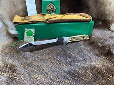 1991 Puma 6375 White Hunter Knife Stag Handles Leather Sheath G/Y Box Mint