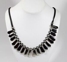 Silver Tone Modern Necklace with Black Leather