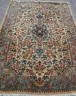 ANTIQUE KERMANN FLORAL HAND KNOTTED GOLD WOOL ORIENTAL RUG HAND-WASHED 3 x 5