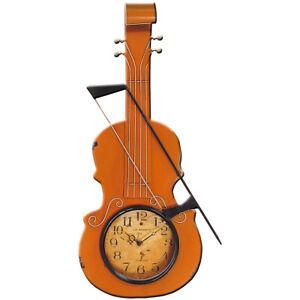 Metal Art Violin Style Wall Clock