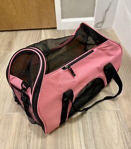 Pink Bergan Collapsible Pet Carrier Airline Carry-On Seatbelt & Shoulder Strap