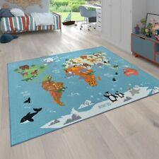 Spielteppich Kinderzimmer Bunt Weltkarte Globus Tiere Kontinente Robust Weich