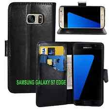 NEW BLACK WALLET LEATHER GEL CASE WITH CARD SLOT FOR Samsung Galaxy S7 EDGE UK