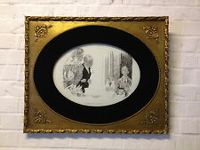Antique Charles Dana Gibson Signed Original Pen / Ink Drawing Two Blind Women