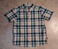 Patagonia Mens Large Plaid Short Sleeve Button Up Shirt Organic Cotton Adult